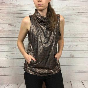 Fabletics Liora Black Rose Gold Pullover Vest - W8